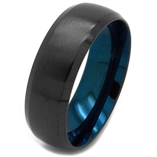 Black Stainless Steel Ring with Blue Inside
