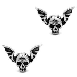 Stainless Steel Winged Skull Earrings