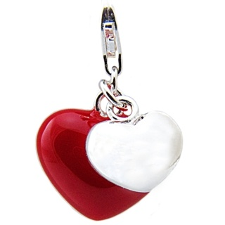 Silver & Red Enamel Two Heart Clip on Charm