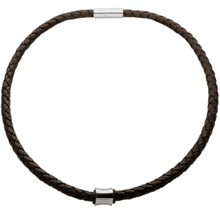 Woven Brown Leather Necklace with a Polished Concave Titanium Bead