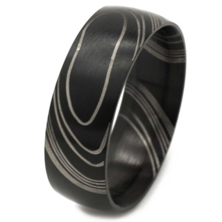 Black Damascus Stainless Steel Ring