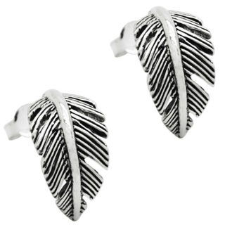 Oxidised Silver Feather Earrings