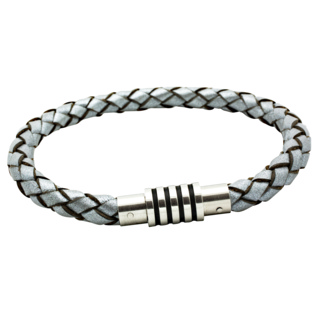 Woven Silver Leather Bracelet with Enamel Feature Clasp