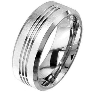Flat Profile Titanium Ring with Triple Grooves