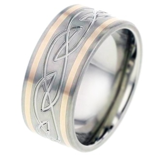 Rose Gold Inlaid Titanium Ring with Celtic Pattern