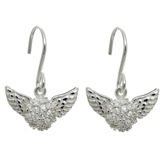 Silver Pave Cubic Zirconia Crystal Winged Drop Earrings