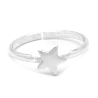 925 Silver Polished Midi Star Ring