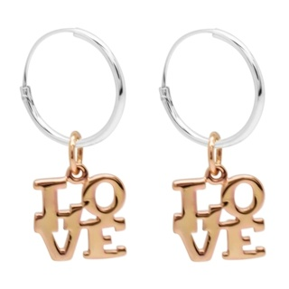 Silver Hoops with Rose Gold Love Charm