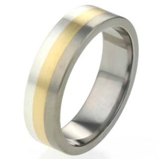 Tri Colour Titanium ring with Silver and Yellow Gold Inlays