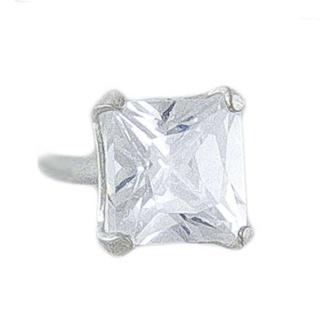 4mm Silver CZ Princess Cut Earring