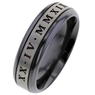 Custom Date Roman Numeral Black and Natural Zirconium Wedding Ring