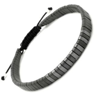 Contrasting Adjustable Hematite & Silver Bracelet