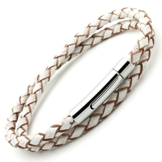White Woven Double Wrap Leather Bracelet