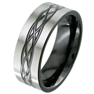 Flat Profile Celtic Design Zirconium Wedding Ring