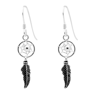 Silver Dreamcatcher Drop Earrings