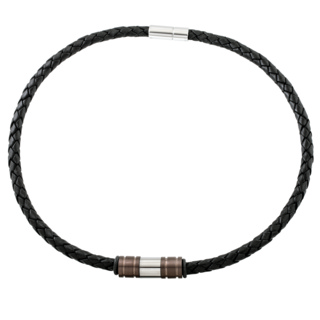 Woven Black Leather Necklace with Coffee Coloured Titanium Beads