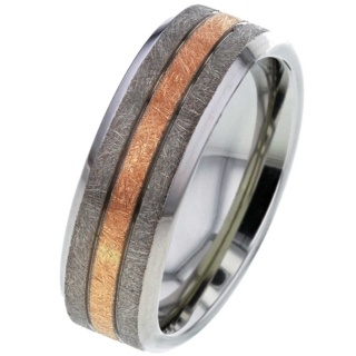Rose Gold Inlaid Titanium Wedding Ring