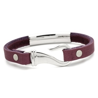 Berry Leather Bracelet with Fish Hook