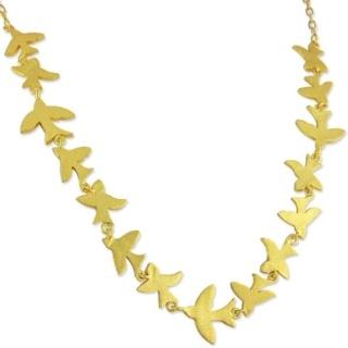 Golden Flock of Birds Necklace
