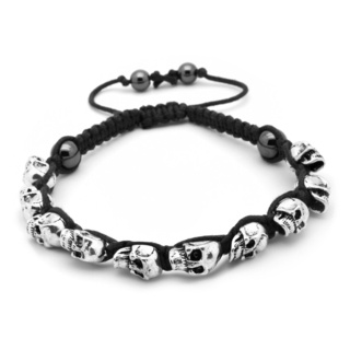 Adjustable Black Friendship Bracelet with Skulls