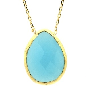 Large Gold Plated Blue Chalcedony Pendant