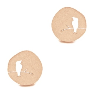 Rose Gold Circular Bird Earrings