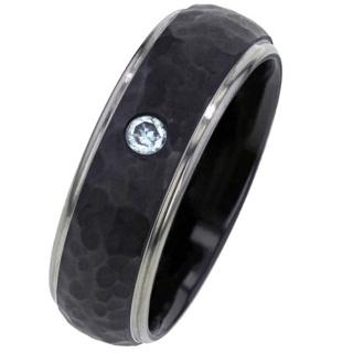 Hammered Black Zirconium Ring with Diamond