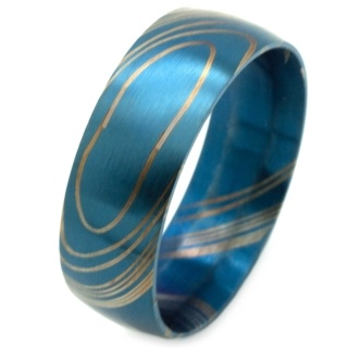Blue Damascus Stainless Steel Ring