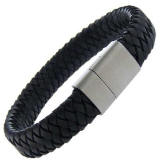 Iowa Black Leather Bracelet