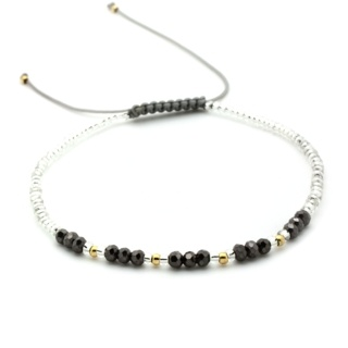 Handmade Silver & Gold Plated Beaded Adjustable Bracelet