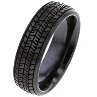 Black Zirconium Tyre Tread Ring