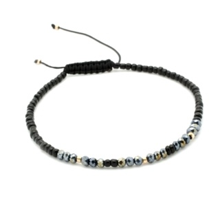 Handmade Faceted Black Diamond & Grey Crystal Adjustable Bracelet