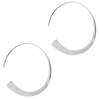 Circular Polished 925 Silver Hoop Earrings