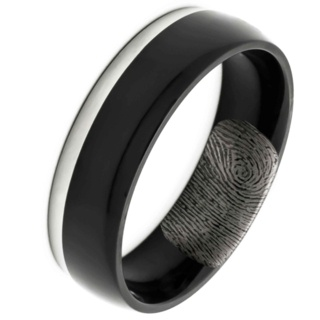 Black and Polished Titanium Ring with Secret Fingerprint