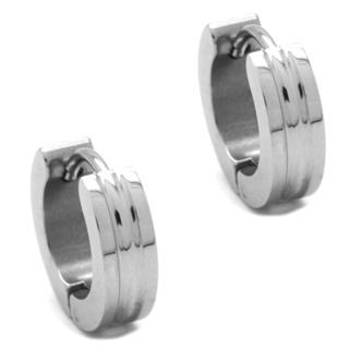 Grooved Stainless Steel Huggie Earrings