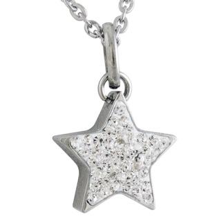 Steel Cubic Zirconia Crystal Star Necklace