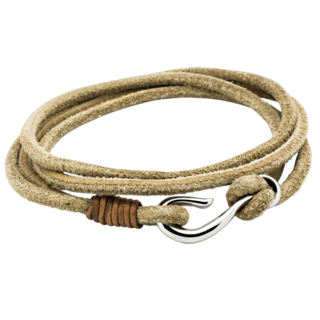 Tan Leather Double Wrap Bracelet with Fish Hook Clasp