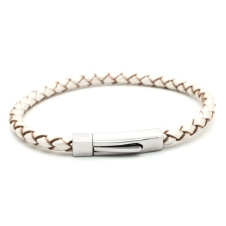 Woven Pearl Bolo Leather Bracelet with Rectangular Clasp