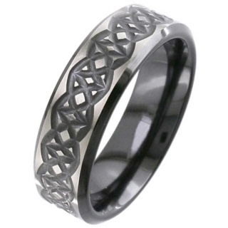 Flat Profile Black Zirconium Celtic Wedding Ring