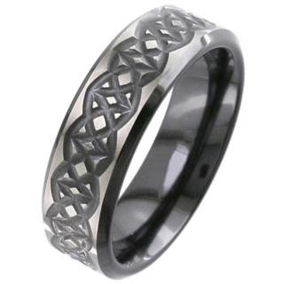 Flat Profile Black Zirconium Celtic Wedding Ring
