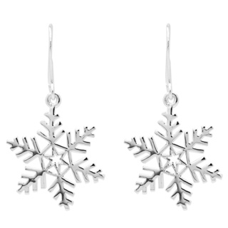 Polished Silver Snowflake Earrings