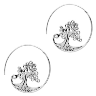 925 Silver Tree Of Life Hoop Earrings