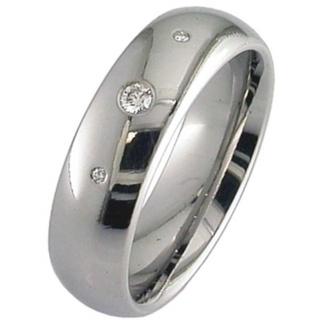 Dome Profile Diamond Set & Polished Titanium Wedding Ring