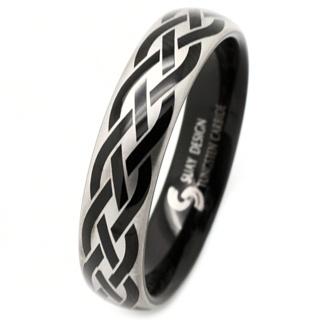 Black Celtic Tungsten Ring