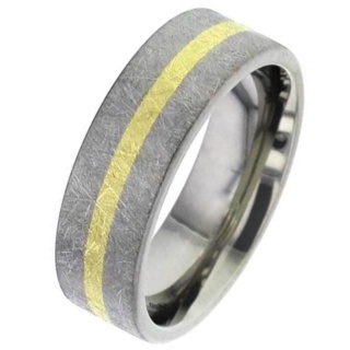 Wire Brushed Flat Profile Titanium Wedding Ring with Gold Inlay