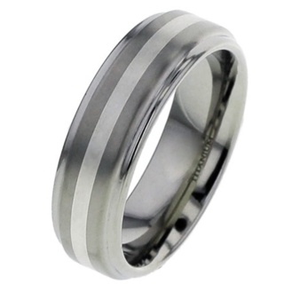 Flat Titanium Wedding Ring with White Gold Inlay