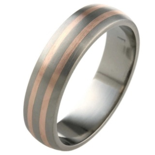6mm Dome Profile Titanium ring with Rose Gold Inlays