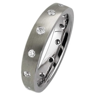 Satin Finished Twelve Diamond Titanium Ring