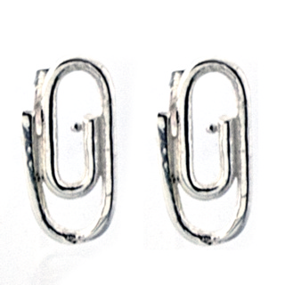 Silver Polished Paper Clip Earrings