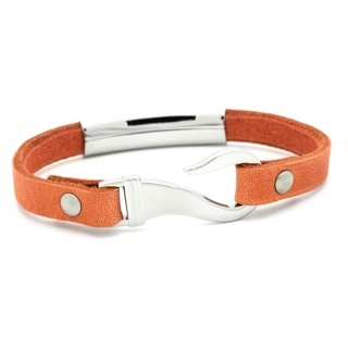 Orange Leather Bracelet with Steel Feature & Fish Hook Clasp